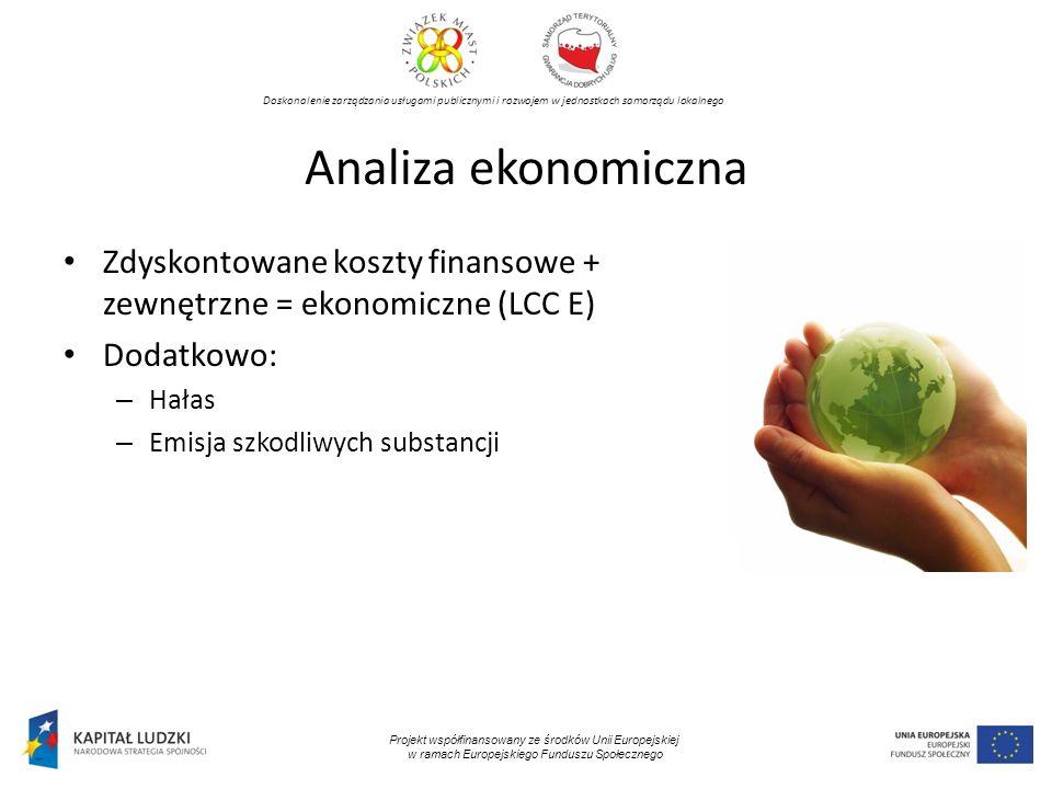 Doskonalenie zarządzania usługami publicznymi i rozwojem w jednostkach samorządu lokalnego Projekt współfinansowany ze środków Unii Europejskiej w ramach Europejskiego Funduszu Społecznego Analiza ekonomiczna Zdyskontowane koszty finansowe + zewnętrzne = ekonomiczne (LCC E) Dodatkowo: – Hałas – Emisja szkodliwych substancji
