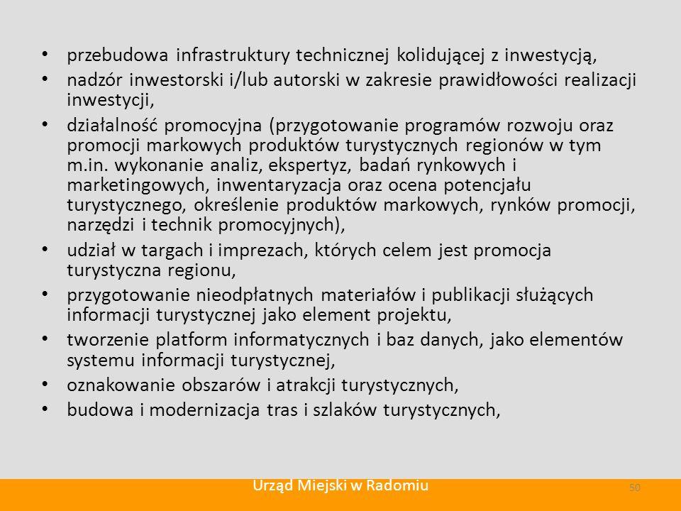 przebudowa infrastruktury technicznej kolidującej z inwestycją, nadzór inwestorski i/lub autorski w zakresie prawidłowości realizacji inwestycji, działalność promocyjna (przygotowanie programów rozwoju oraz promocji markowych produktów turystycznych regionów w tym m.in.