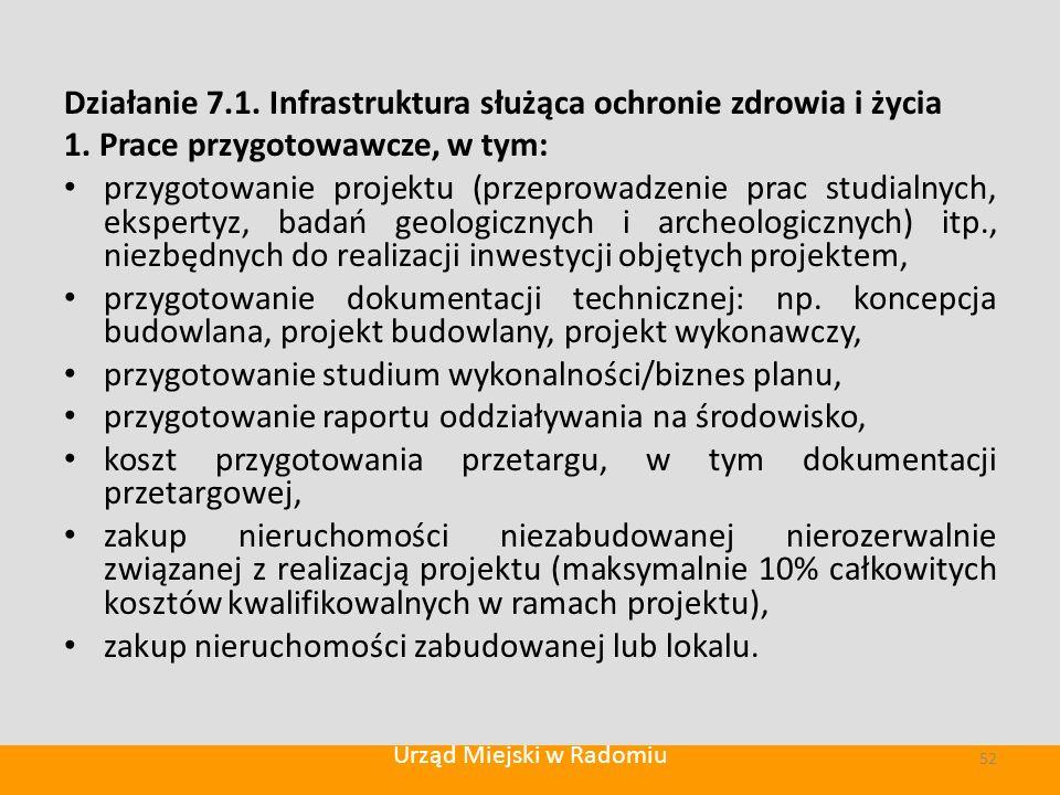 Działanie 7.1. Infrastruktura służąca ochronie zdrowia i życia 1.