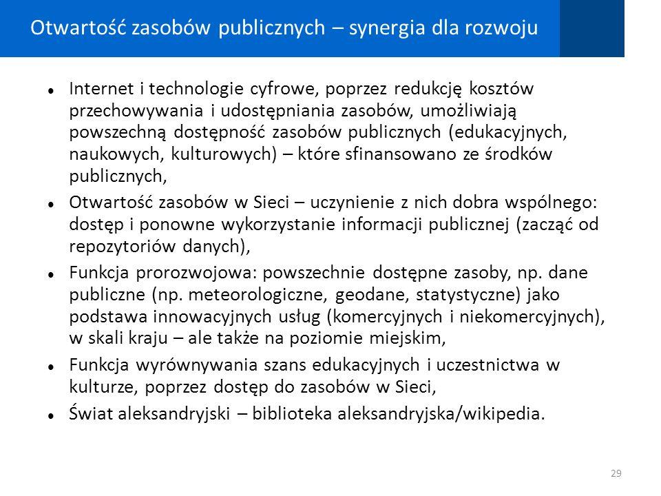 Otwartość zasobów publicznych – synergia dla rozwoju Internet i technologie cyfrowe, poprzez redukcję kosztów przechowywania i udostępniania zasobów,