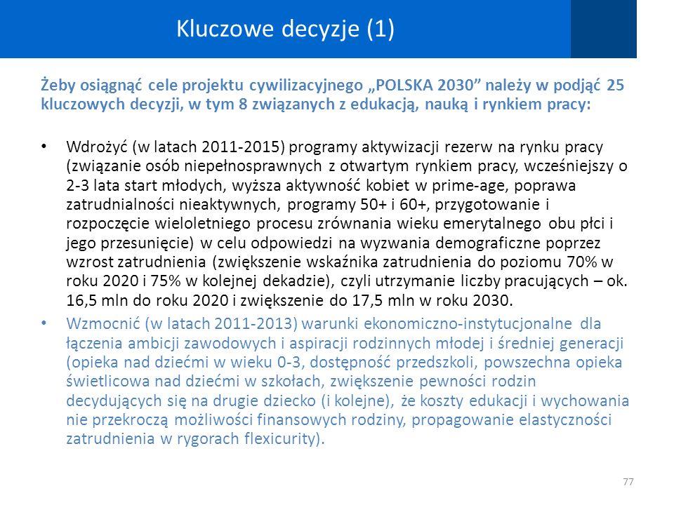 Kluczowe decyzje (1) Żeby osiągnąć cele projektu cywilizacyjnego POLSKA 2030 należy w podjąć 25 kluczowych decyzji, w tym 8 związanych z edukacją, nau