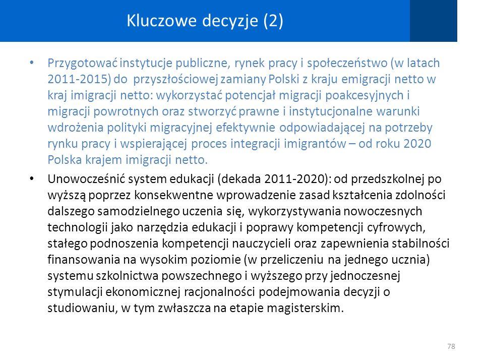 Kluczowe decyzje (2) Przygotować instytucje publiczne, rynek pracy i społeczeństwo (w latach 2011-2015) do przyszłościowej zamiany Polski z kraju emig