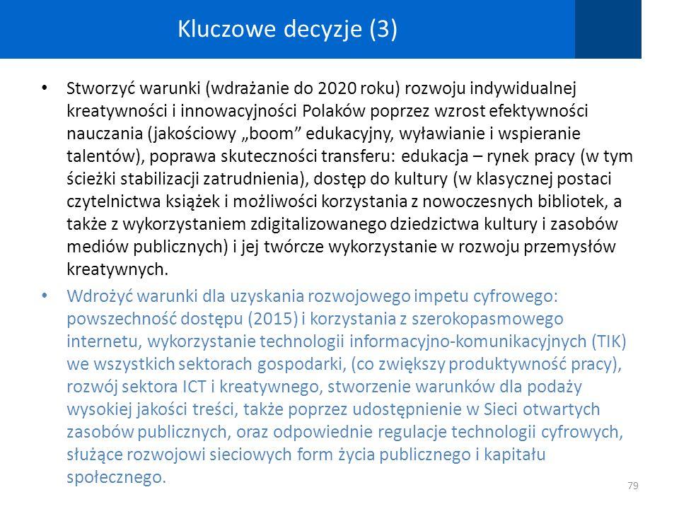Kluczowe decyzje (3) Stworzyć warunki (wdrażanie do 2020 roku) rozwoju indywidualnej kreatywności i innowacyjności Polaków poprzez wzrost efektywności