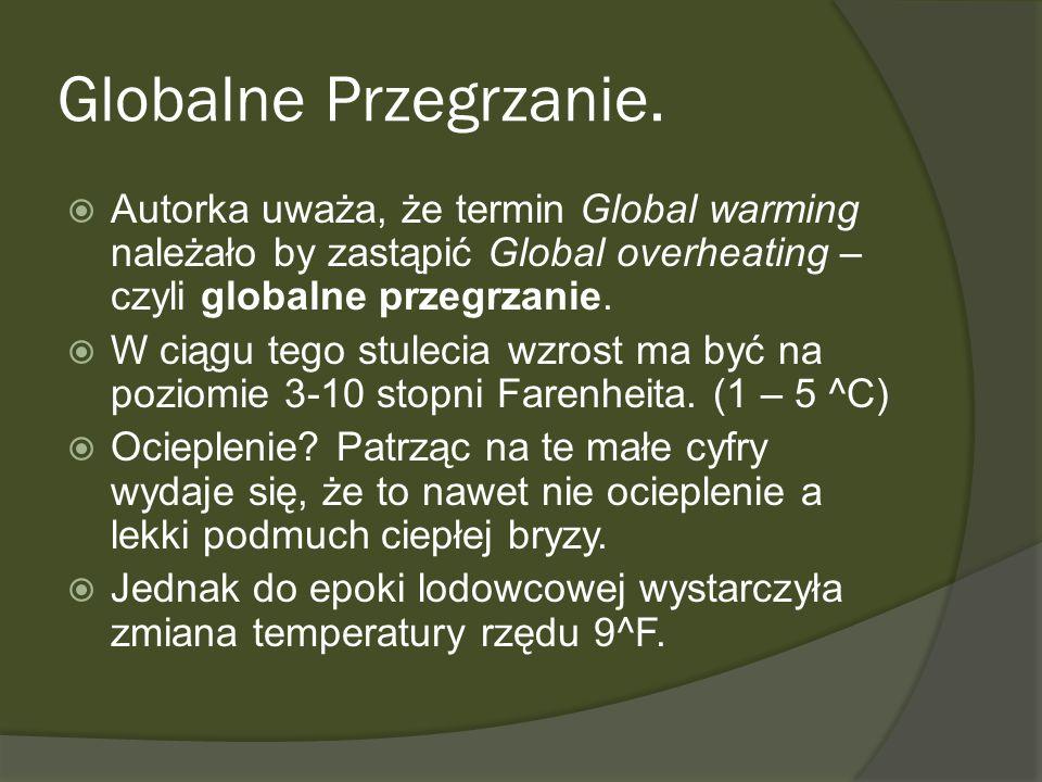 Globalne Przegrzanie. Autorka uważa, że termin Global warming należało by zastąpić Global overheating – czyli globalne przegrzanie. W ciągu tego stule