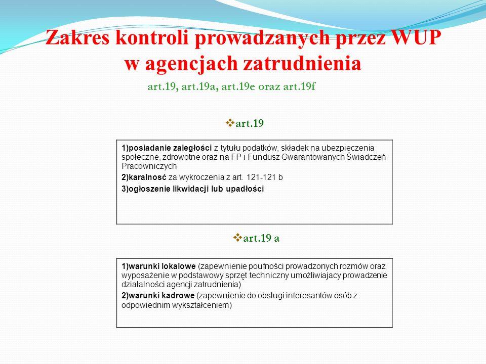 Zakres kontroli prowadzanych przez WUP w agencjach zatrudnienia art.19, art.19a, art.19e oraz art.19f 1)posiadanie zaległości z tytułu podatków, skład