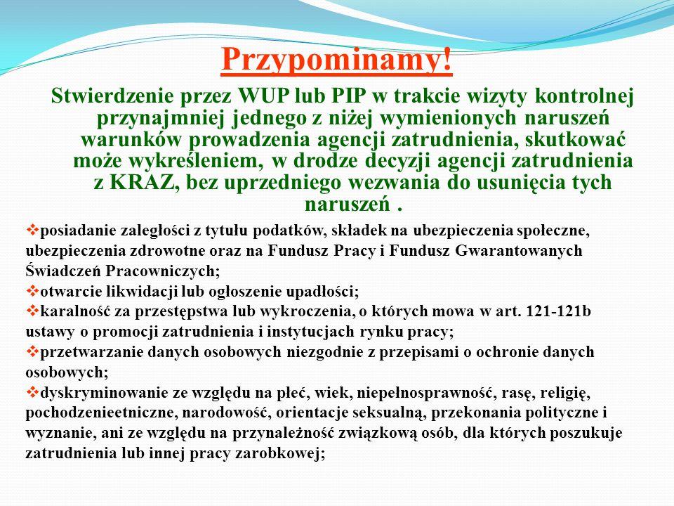 Przypominamy! Stwierdzenie przez WUP lub PIP w trakcie wizyty kontrolnej przynajmniej jednego z niżej wymienionych naruszeń warunków prowadzenia agenc
