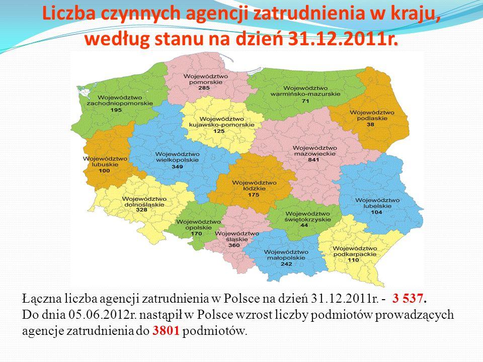. Liczba czynnych agencji zatrudnienia w kraju, według stanu na dzień 31.12.2011r. Łączna liczba agencji zatrudnienia w Polsce na dzień 31.12.2011r. -