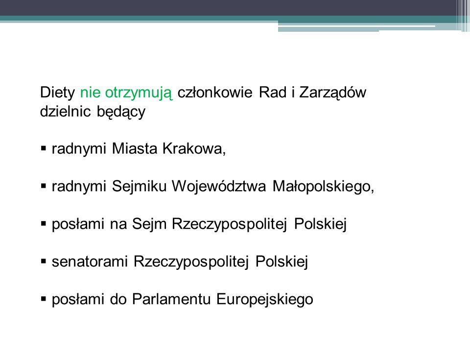 Diety nie otrzymują członkowie Rad i Zarządów dzielnic będący radnymi Miasta Krakowa, radnymi Sejmiku Województwa Małopolskiego, posłami na Sejm Rzecz
