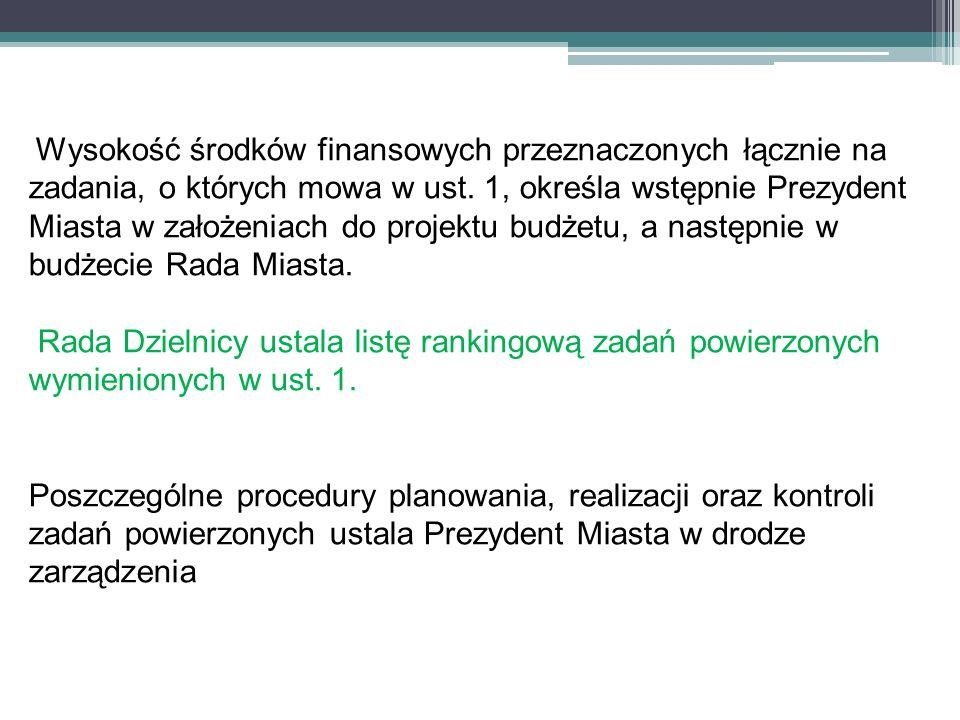 Wysokość środków finansowych przeznaczonych łącznie na zadania, o których mowa w ust. 1, określa wstępnie Prezydent Miasta w założeniach do projektu b