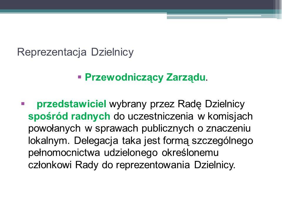 Reprezentacja Dzielnicy Przewodniczący Zarządu.