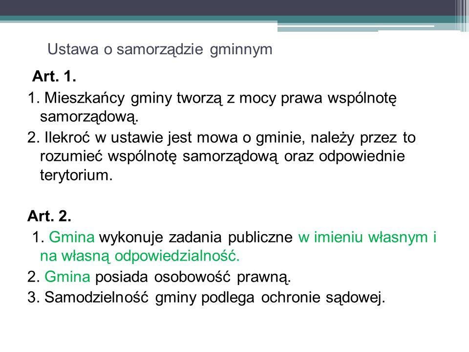 Ustawa o samorządzie gminnym Art. 1. 1.