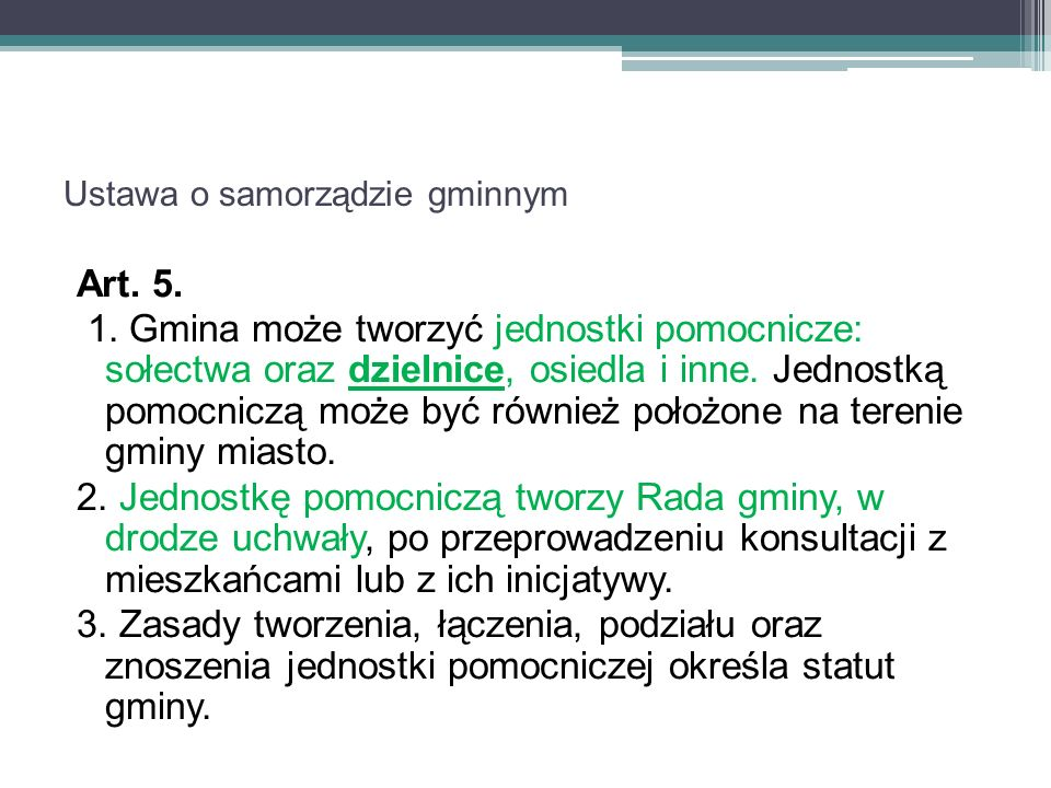Ustawa o samorządzie gminnym Art. 5. 1.