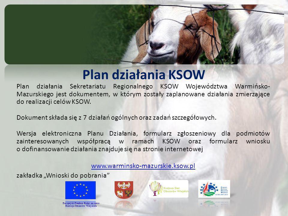 Plan działania KSOW Plan działania Sekretariatu Regionalnego KSOW Województwa Warmińsko- Mazurskiego jest dokumentem, w którym zostały zaplanowane działania zmierzające do realizacji celów KSOW.