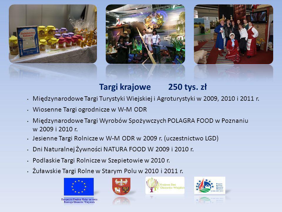 Targi krajowe 250 tys. zł Międzynarodowe Targi Turystyki Wiejskiej i Agroturystyki w 2009, 2010 i 2011 r. Wiosenne Targi ogrodnicze w W-M ODR Międzyna