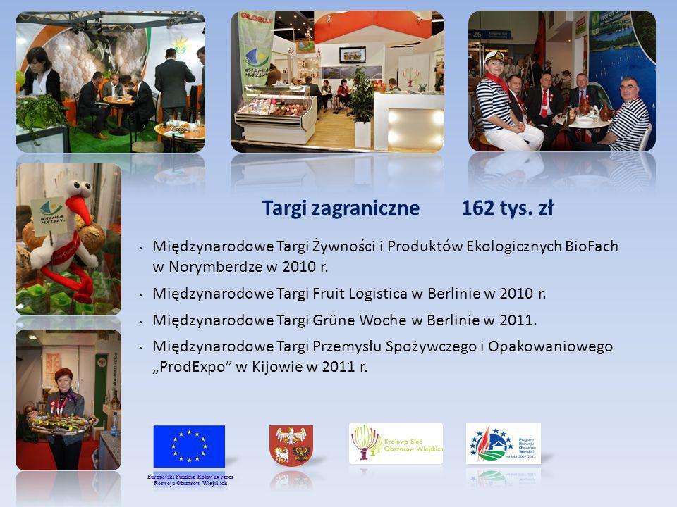 Targi zagraniczne 162 tys. zł Międzynarodowe Targi Żywności i Produktów Ekologicznych BioFach w Norymberdze w 2010 r. Międzynarodowe Targi Fruit Logis