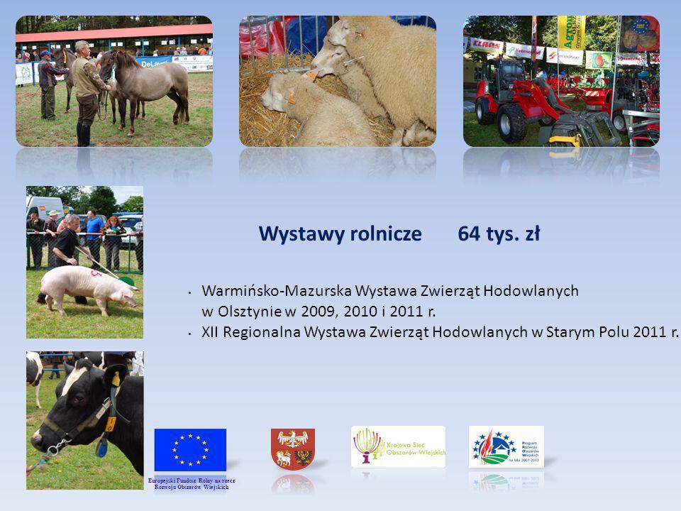 Wystawy rolnicze 64 tys. zł Warmińsko-Mazurska Wystawa Zwierząt Hodowlanych w Olsztynie w 2009, 2010 i 2011 r. XII Regionalna Wystawa Zwierząt Hodowla