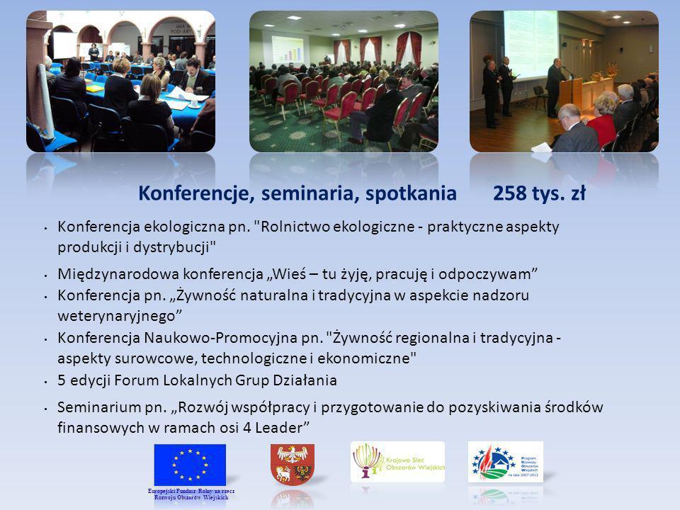 Konferencje, seminaria, spotkania 258 tys. zł Konferencja ekologiczna pn.
