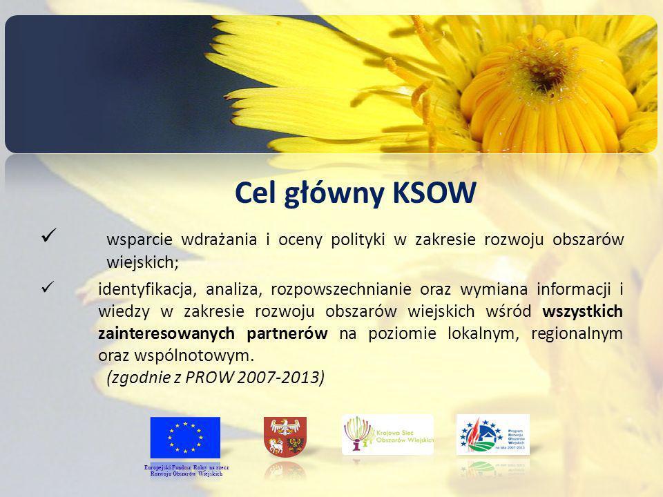 Cel główny KSOW wsparcie wdrażania i oceny polityki w zakresie rozwoju obszarów wiejskich; identyfikacja, analiza, rozpowszechnianie oraz wymiana informacji i wiedzy w zakresie rozwoju obszarów wiejskich wśród wszystkich zainteresowanych partnerów na poziomie lokalnym, regionalnym oraz wspólnotowym.