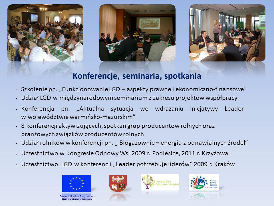 Konferencje, seminaria, spotkania Szkolenie pn. Funkcjonowanie LGD – aspekty prawne i ekonomiczno-finansowe Udział LGD w międzynarodowym seminarium z