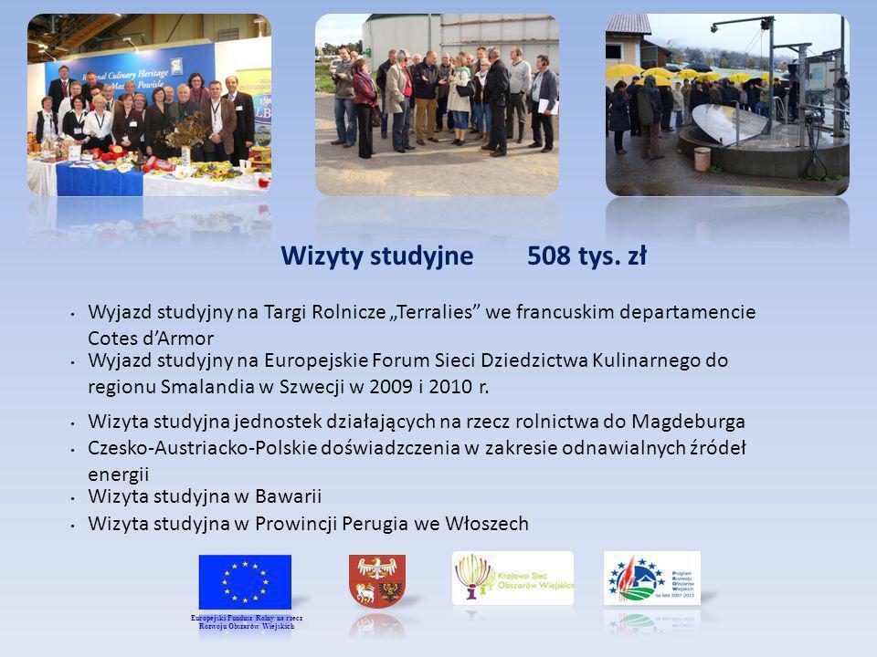 Wizyty studyjne 508 tys. zł Wyjazd studyjny na Europejskie Forum Sieci Dziedzictwa Kulinarnego do regionu Smalandia w Szwecji w 2009 i 2010 r. Wizyta