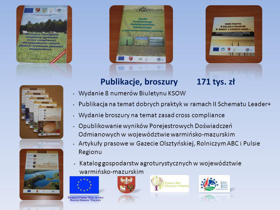 Publikacje, broszury 171 tys. zł Publikacja na temat dobrych praktyk w ramach II Schematu Leader+ Wydanie broszury na temat zasad cross compliance Opu