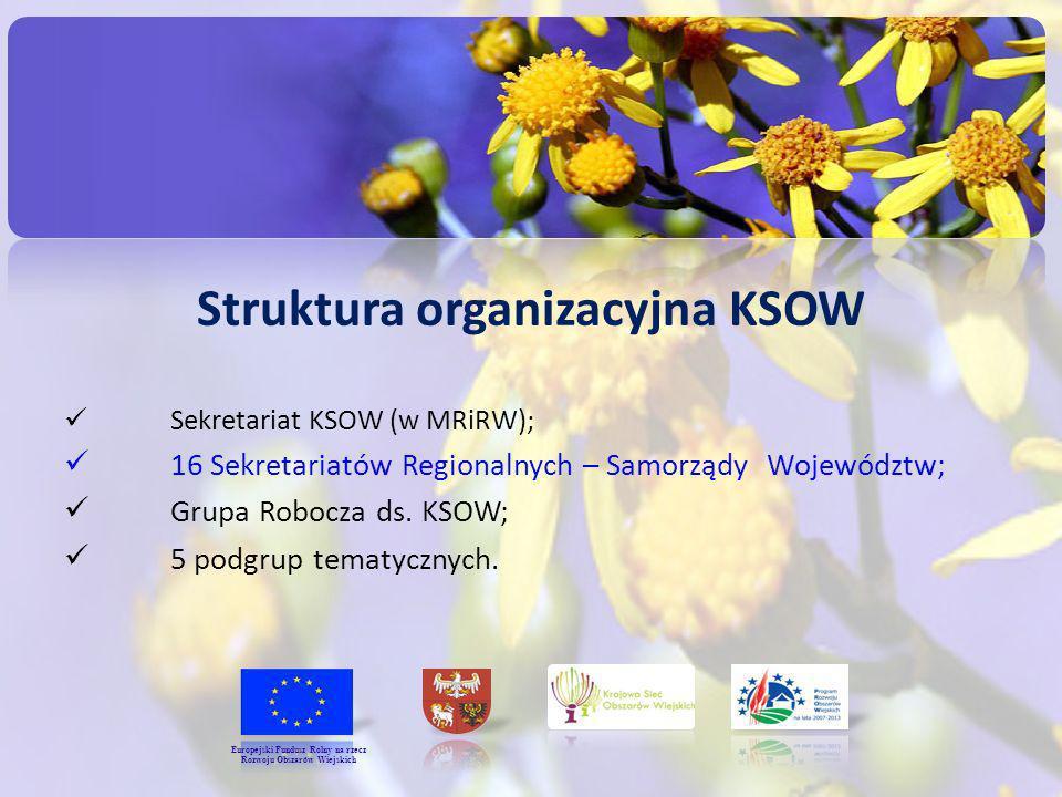 Struktura organizacyjna KSOW Sekretariat KSOW (w MRiRW); 16 Sekretariatów Regionalnych – Samorządy Województw; Grupa Robocza ds. KSOW; 5 podgrup temat