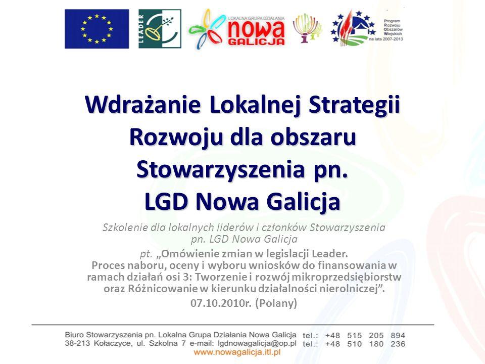 Wdrażanie Lokalnej Strategii Rozwoju dla obszaru Stowarzyszenia pn.