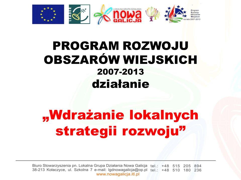 PROGRAM ROZWOJU OBSZARÓW WIEJSKICH 2007-2013 działanie Wdrażanie lokalnych strategii rozwoju