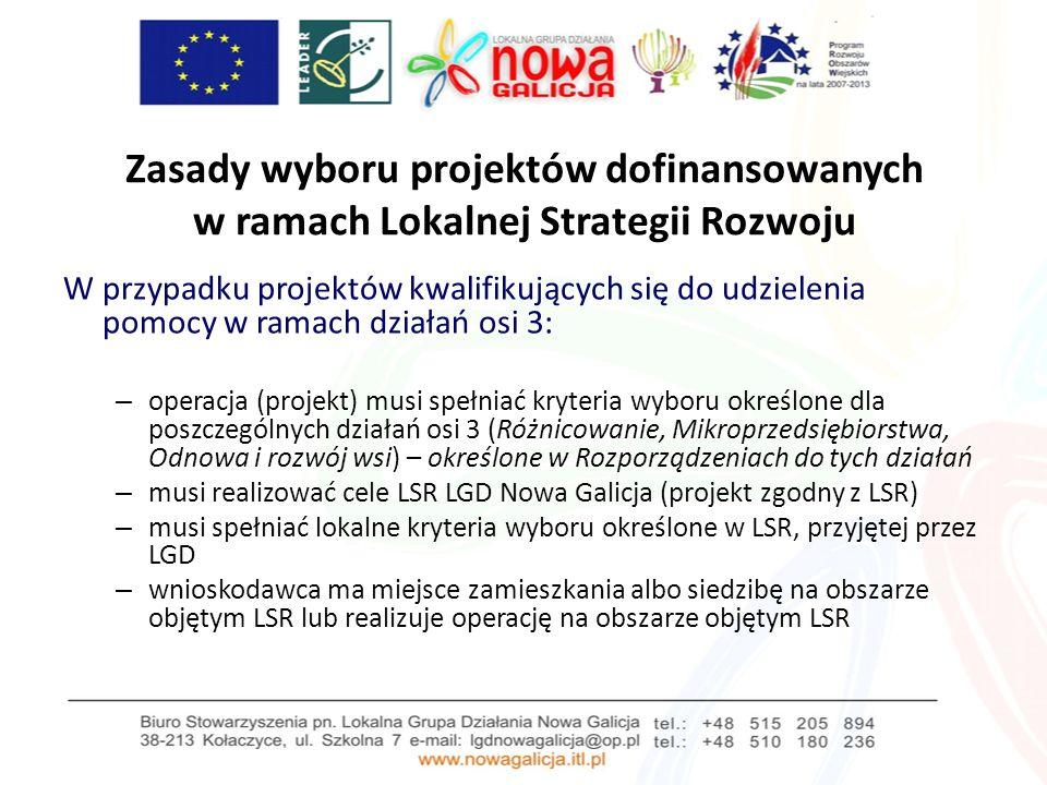 Zasady wyboru projektów dofinansowanych w ramach Lokalnej Strategii Rozwoju W przypadku tzw.