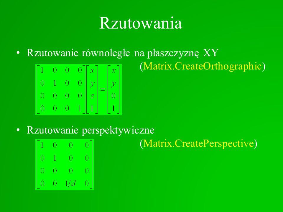 Rzutowania Rzutowanie równoległe na płaszczyznę XY (Matrix.CreateOrthographic) Rzutowanie perspektywiczne (Matrix.CreatePerspective)