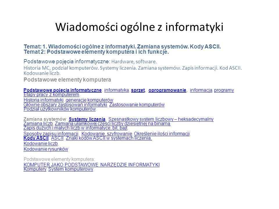 Wiadomości ogólne z informatyki Temat: 1.Wiadomości ogólne z informatyki.