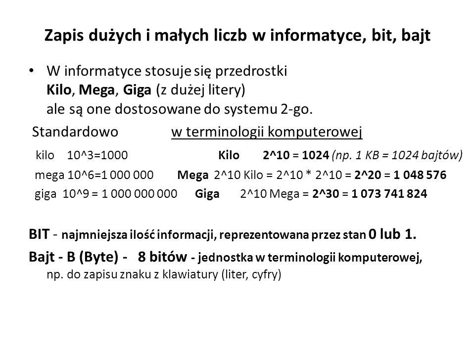 Zapis dużych i małych liczb w informatyce, bit, bajt W informatyce stosuje się przedrostki Kilo, Mega, Giga (z dużej litery) ale są one dostosowane do systemu 2-go.