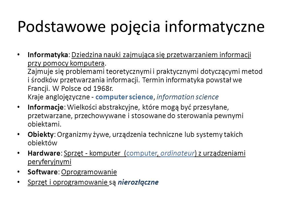 Podstawowe pojęcia informatyczne Informatyka: Dziedzina nauki zajmująca się przetwarzaniem informacji przy pomocy komputera.