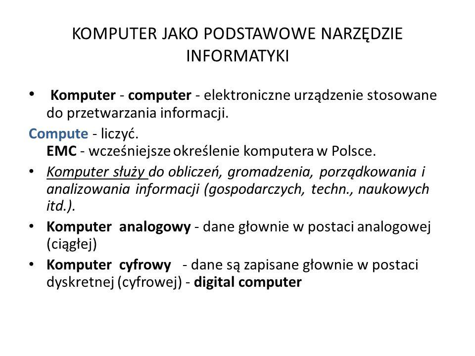 KOMPUTER JAKO PODSTAWOWE NARZĘDZIE INFORMATYKI Komputer - computer - elektroniczne urządzenie stosowane do przetwarzania informacji.