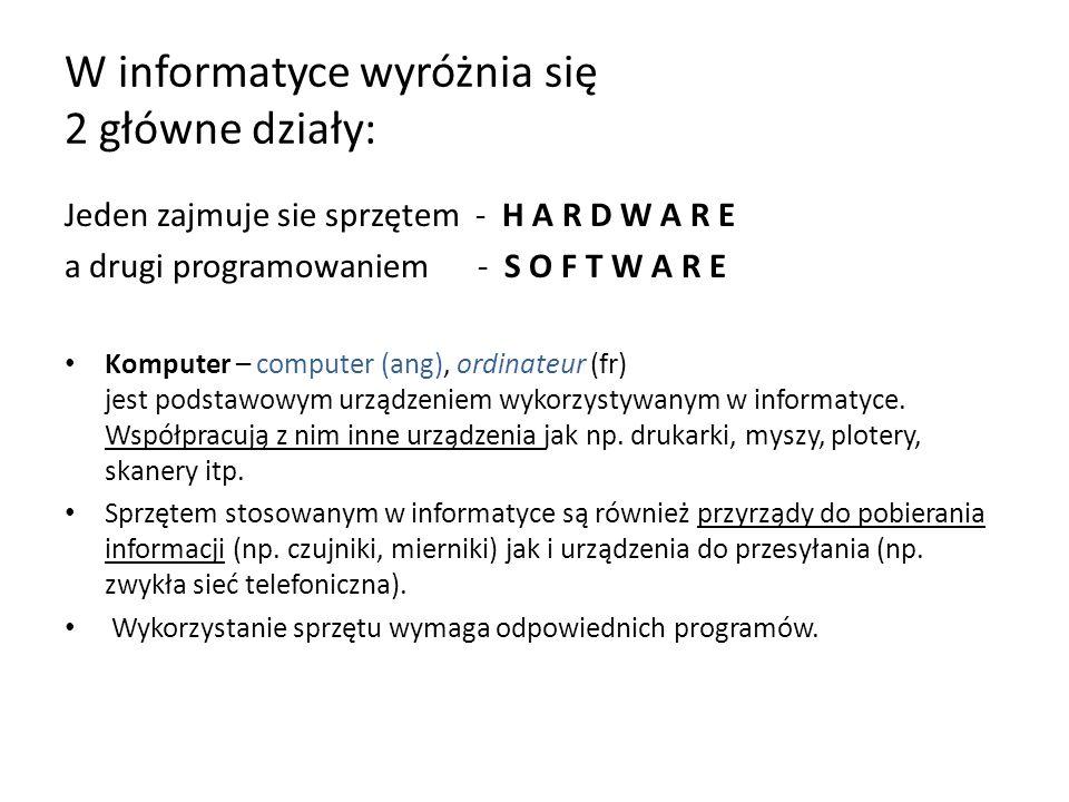 W informatyce wyróżnia się 2 główne działy: Jeden zajmuje sie sprzętem - H A R D W A R E a drugi programowaniem - S O F T W A R E Komputer – computer (ang), ordinateur (fr) jest podstawowym urządzeniem wykorzystywanym w informatyce.