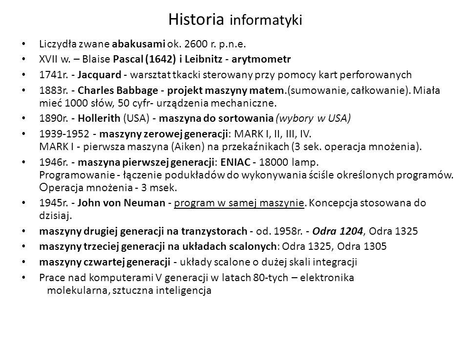 Historia informatyki Liczydła zwane abakusami ok.2600 r.