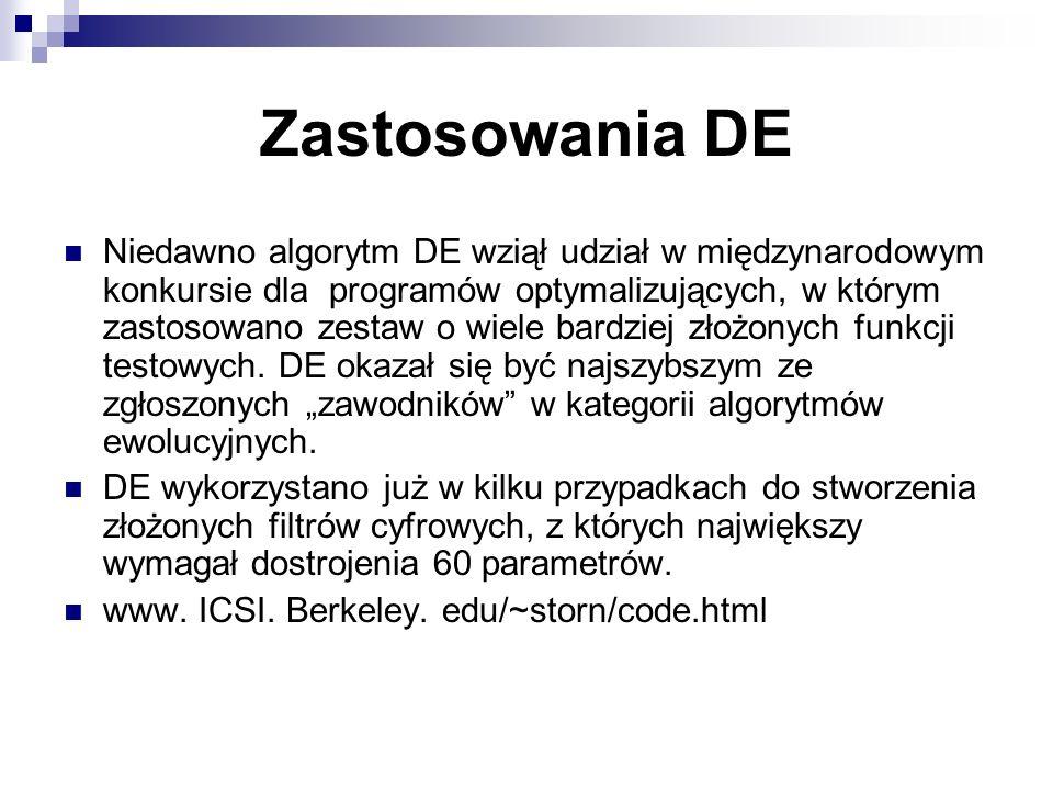 Zastosowania DE Niedawno algorytm DE wziął udział w międzynarodowym konkursie dla programów optymalizujących, w którym zastosowano zestaw o wiele bard