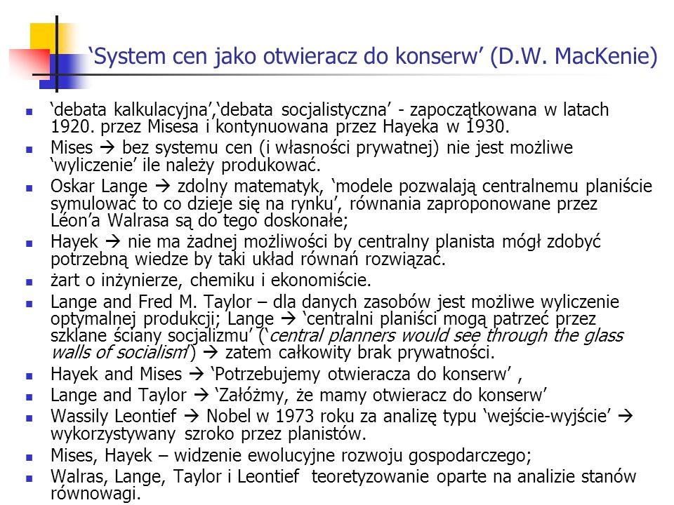 System cen jako otwieracz do konserw (D.W.