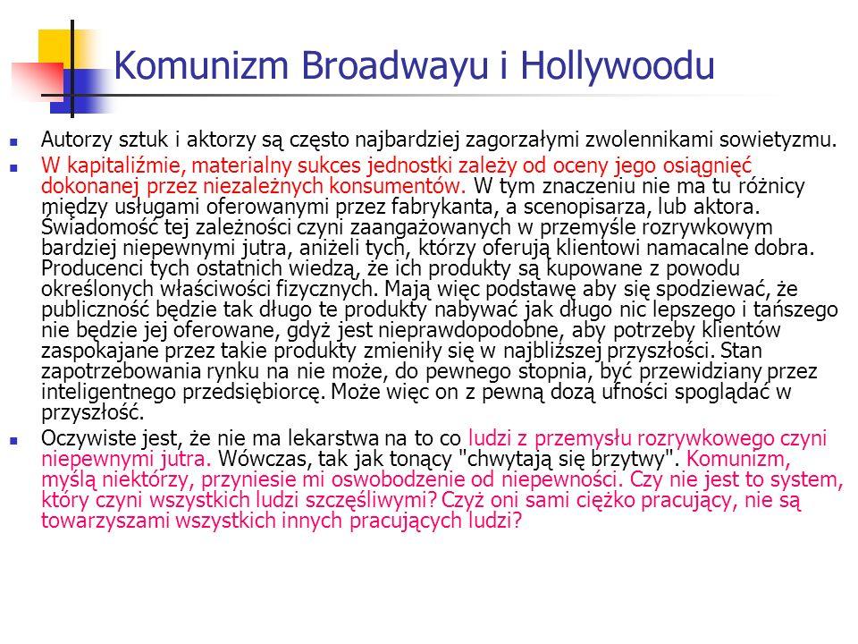 Komunizm Broadwayu i Hollywoodu Autorzy sztuk i aktorzy są często najbardziej zagorzałymi zwolennikami sowietyzmu.