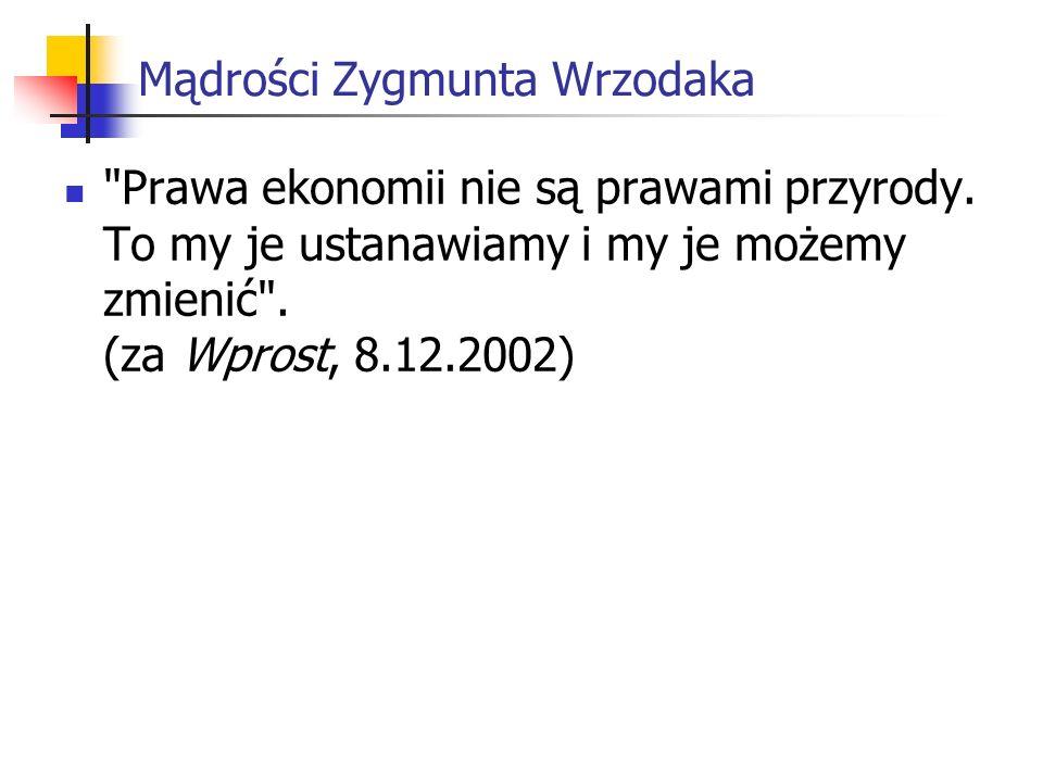 Mądrości Zygmunta Wrzodaka Prawa ekonomii nie są prawami przyrody.