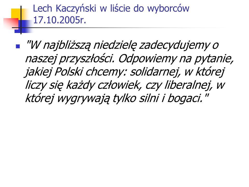 Lech Kaczyński w liście do wyborców 17.10.2005r.