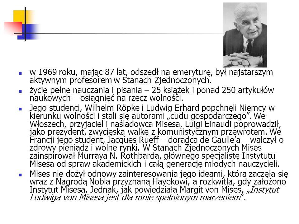 w 1969 roku, mając 87 lat, odszedł na emeryturę, był najstarszym aktywnym profesorem w Stanach Zjednoczonych.