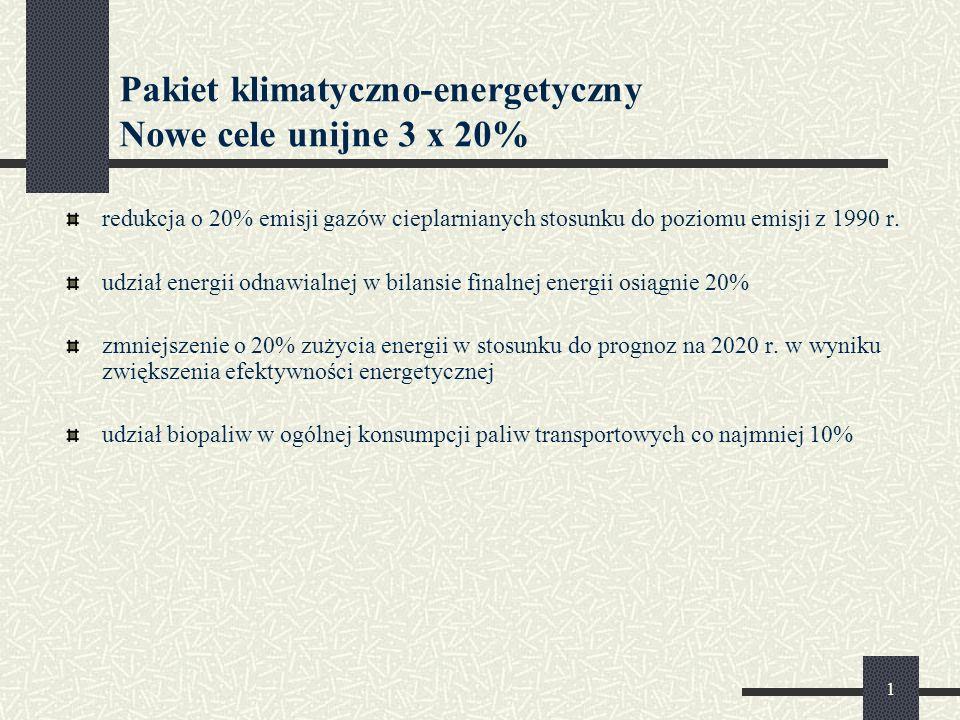 1 Pakiet klimatyczno-energetyczny Nowe cele unijne 3 x 20% redukcja o 20% emisji gazów cieplarnianych stosunku do poziomu emisji z 1990 r.