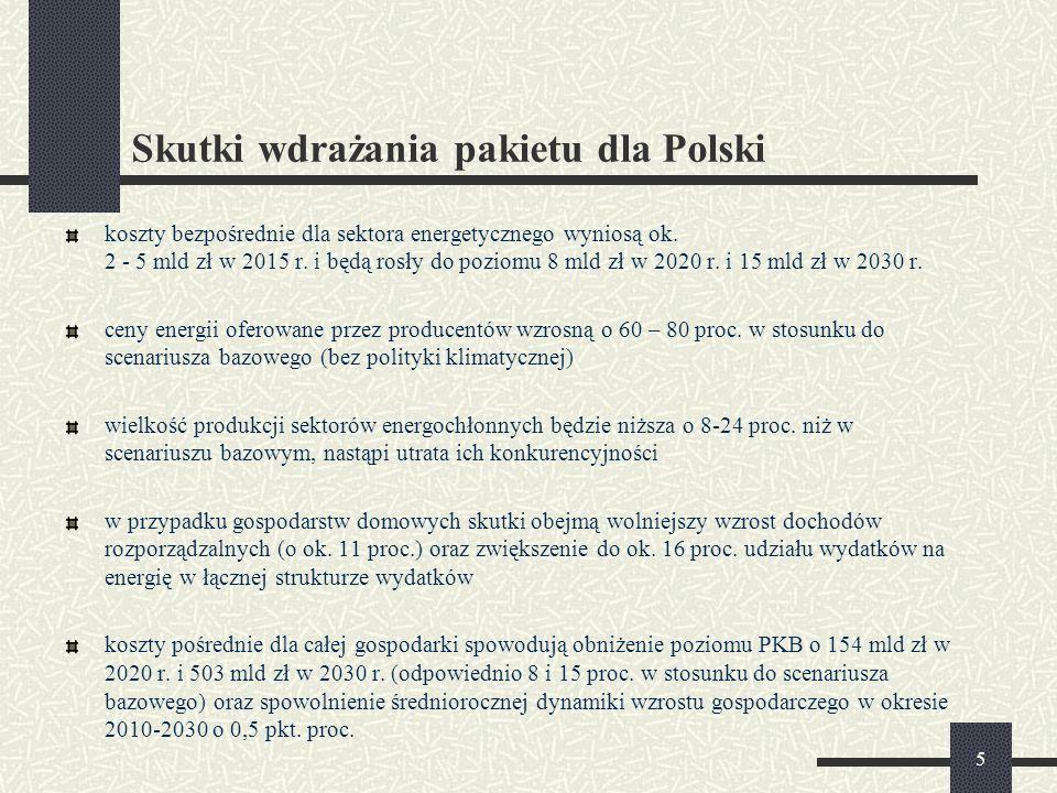 5 Skutki wdrażania pakietu dla Polski koszty bezpośrednie dla sektora energetycznego wyniosą ok.