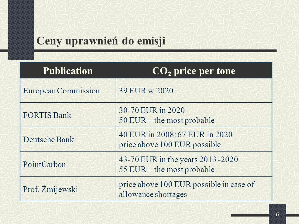 6 Ceny uprawnień do emisji PublicationCO 2 price per tone European Commission39 EUR w 2020 FORTIS Bank 30-70 EUR in 2020 50 EUR – the most probable Deutsche Bank 40 EUR in 2008; 67 EUR in 2020 price above 100 EUR possible PointCarbon 43-70 EUR in the years 2013 -2020 55 EUR – the most probable Prof.