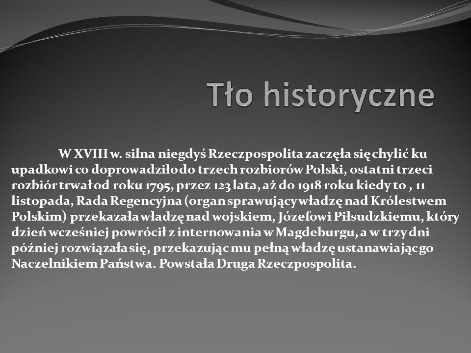 W XVIII w. silna niegdyś Rzeczpospolita zaczęła się chylić ku upadkowi co doprowadziło do trzech rozbiorów Polski, ostatni trzeci rozbiór trwał od rok