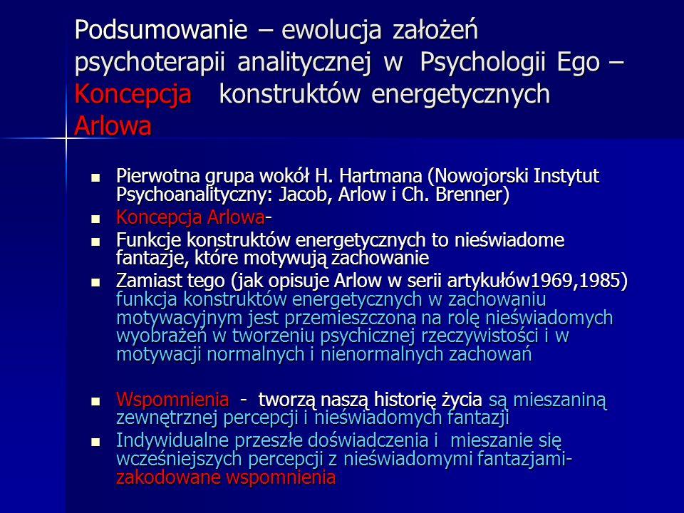 Podsumowanie – ewolucja założeń psychoterapii analitycznej w Psychologii Ego – Koncepcja konstruktów energetycznych Arlowa Pierwotna grupa wokół H. Ha