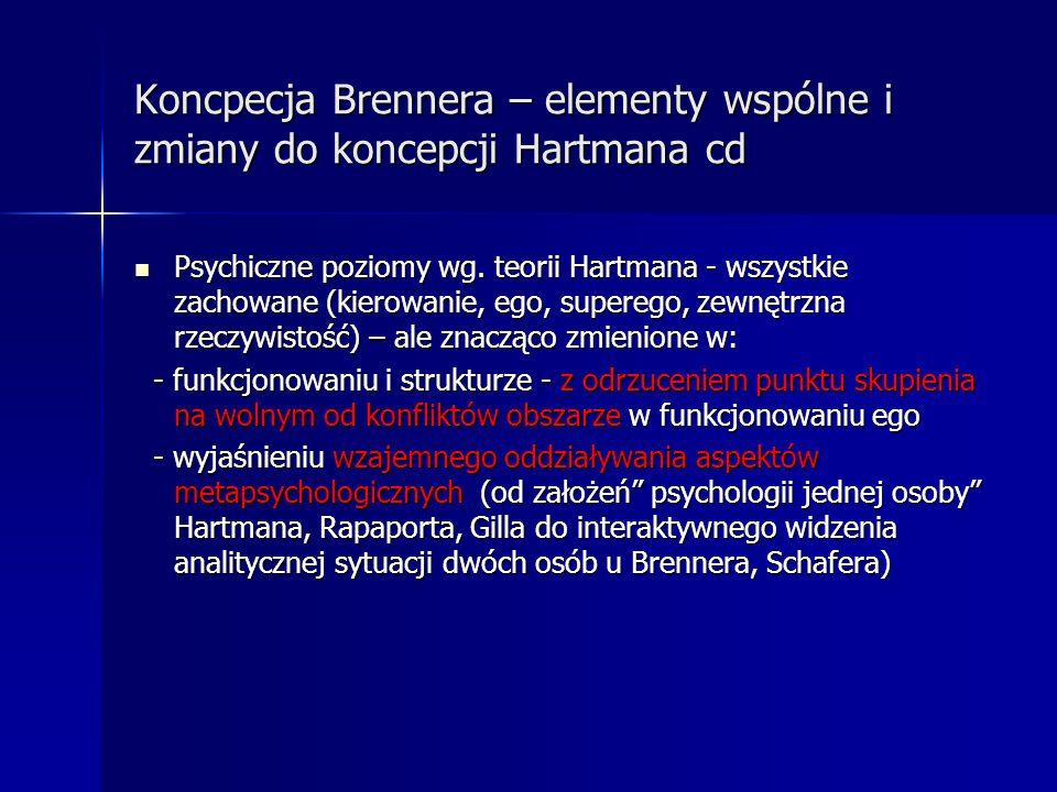 Koncpecja Brennera – elementy wspólne i zmiany do koncepcji Hartmana cd Psychiczne poziomy wg. teorii Hartmana - wszystkie zachowane (kierowanie, ego,