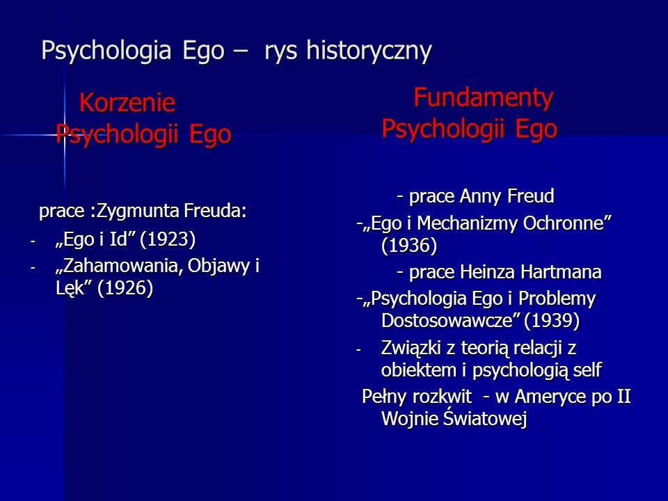 Psychologia Ego – rys historyczny Korzenie Psychologii Ego Korzenie Psychologii Ego prace :Zygmunta Freuda: prace :Zygmunta Freuda: - Ego i Id (1923)