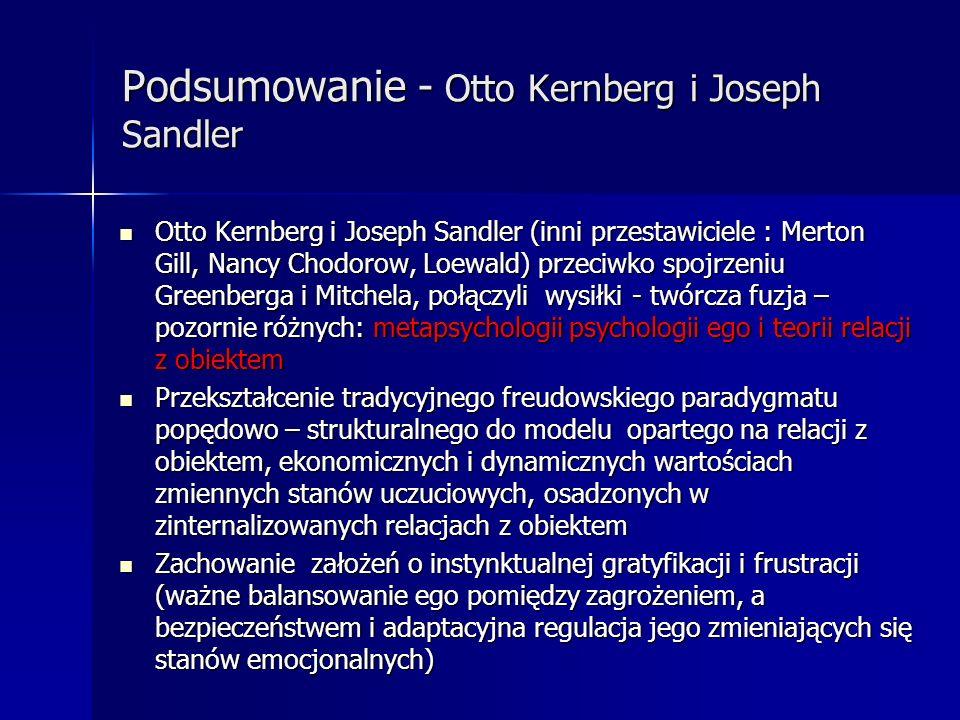 Podsumowanie - Otto Kernberg i Joseph Sandler Otto Kernberg i Joseph Sandler (inni przestawiciele : Merton Gill, Nancy Chodorow, Loewald) przeciwko sp